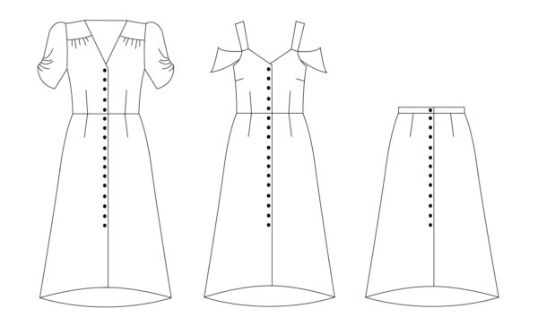 Kew Dress line art