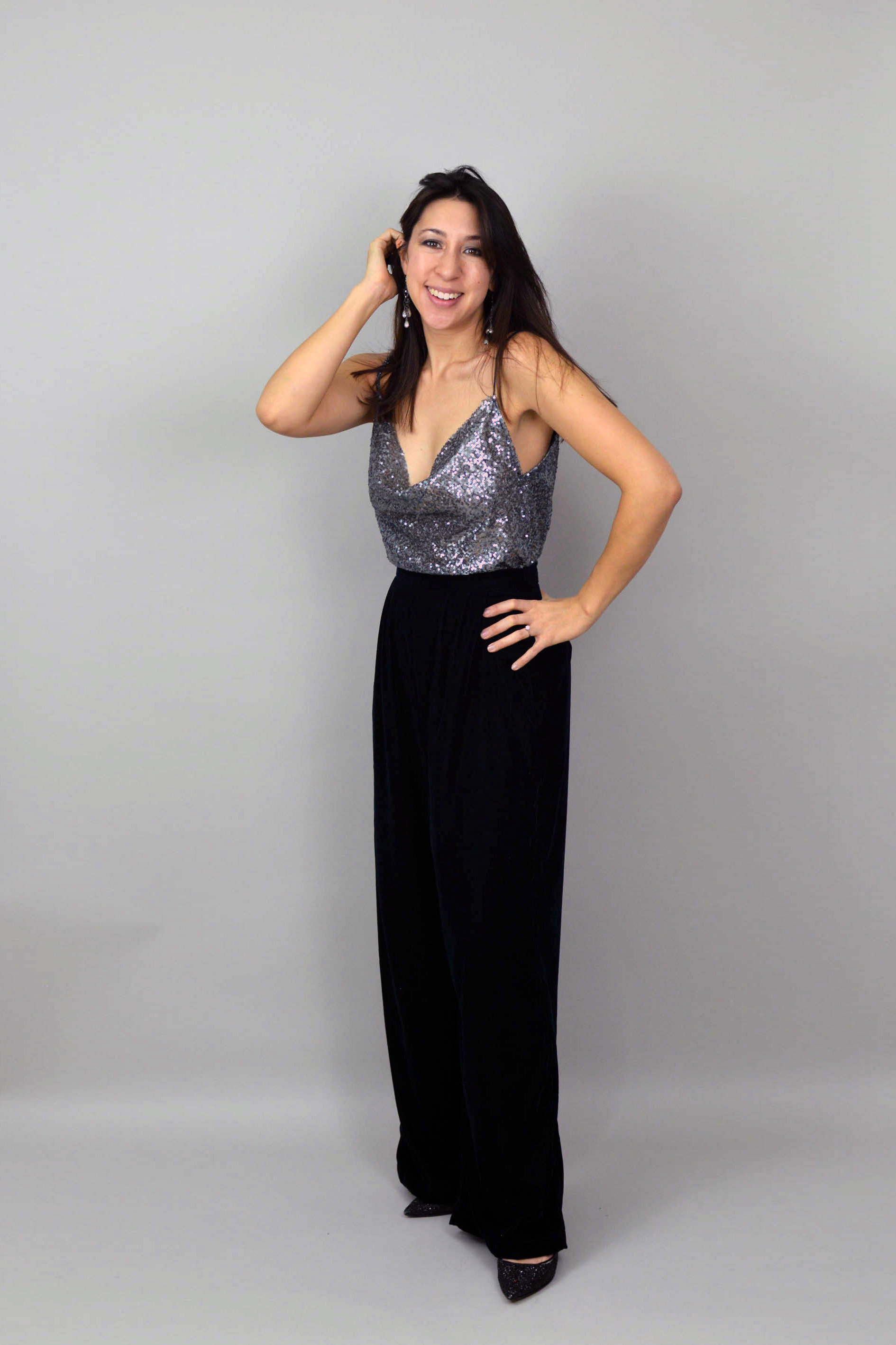 Green velvet Portobello Trousers with silver sequinned cowl-neck camisole