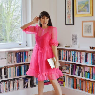 Bakerloo Dress – organza collarless, frilled skirt hack!
